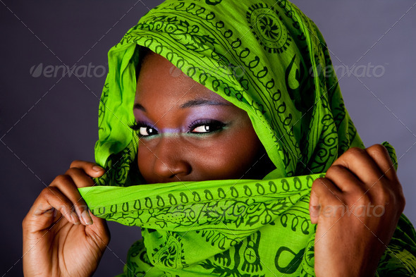 African woman with scarf - Stock Photo - Images