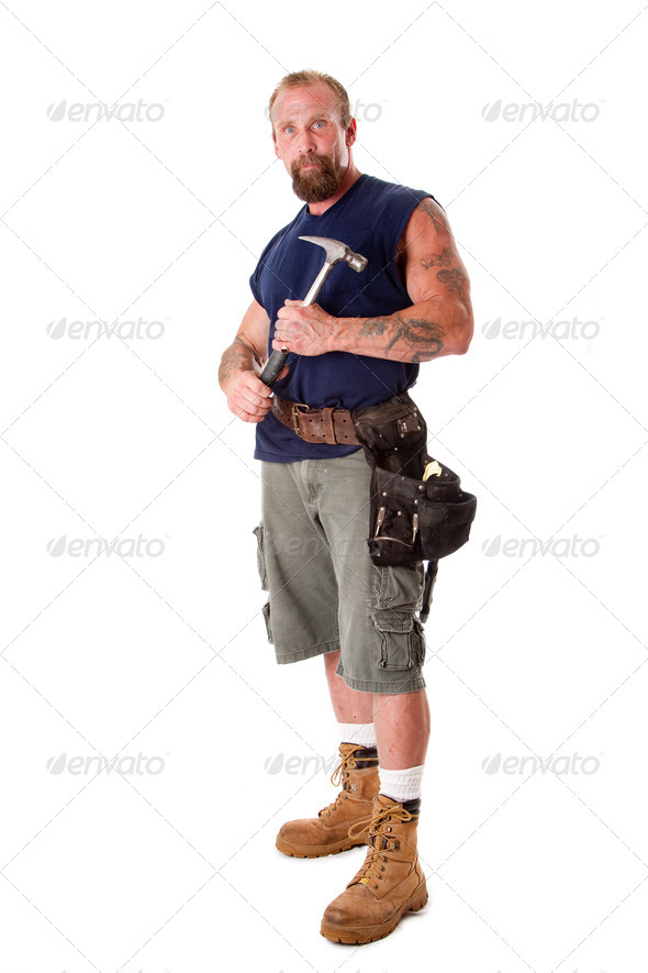 Man with hammer - Stock Photo - Images