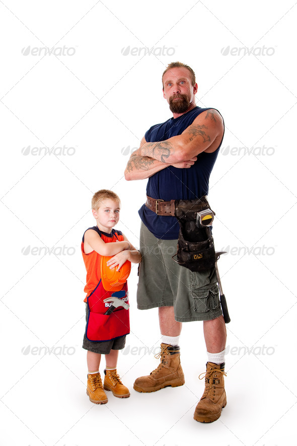 Father and son ready for construction - Stock Photo - Images