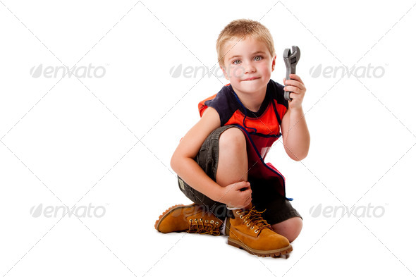 Boy with wrench - Stock Photo - Images