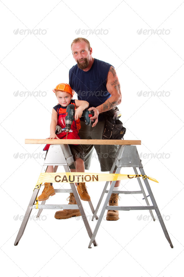 Father teaching son drilling - Stock Photo - Images