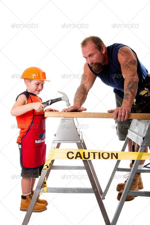 Father and son carpenter job - Stock Photo - Images