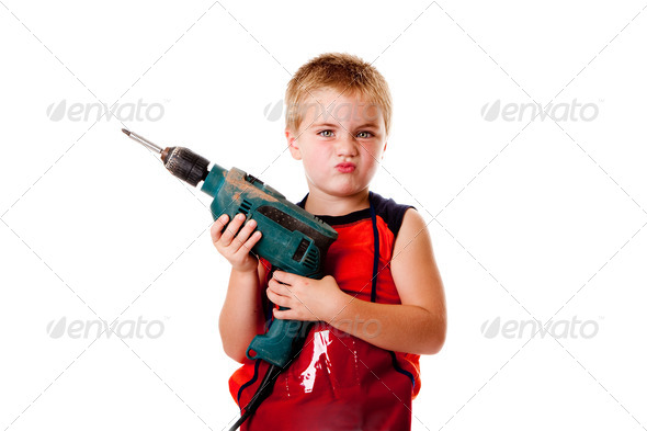 Boy kid with drill - Stock Photo - Images