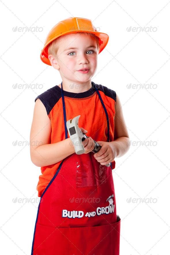 Cute boy with hammer - Stock Photo - Images