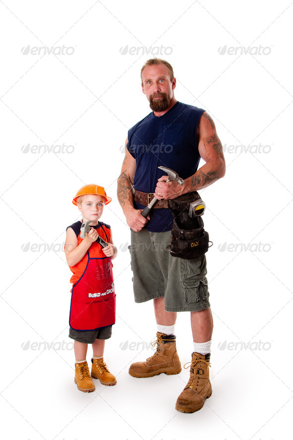 Father and son Carpenter - Stock Photo - Images