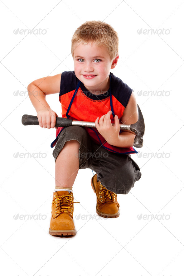 Boy with hammer - Stock Photo - Images