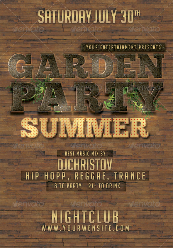 Garden Party Flyer Template - Clubs & Parties Events