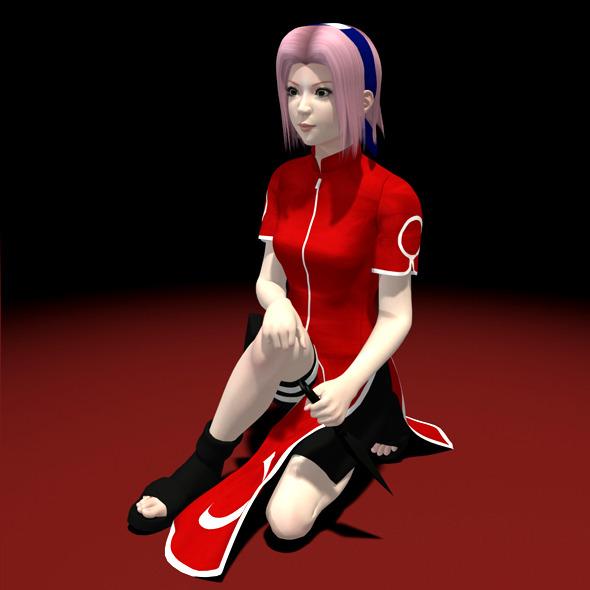 Naruto - Sakura Haruno 3D Model 01 - 3DOcean Item for Sale