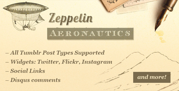 Zeppelin - Vintage Style Tumblr Theme - Blog Tumblr