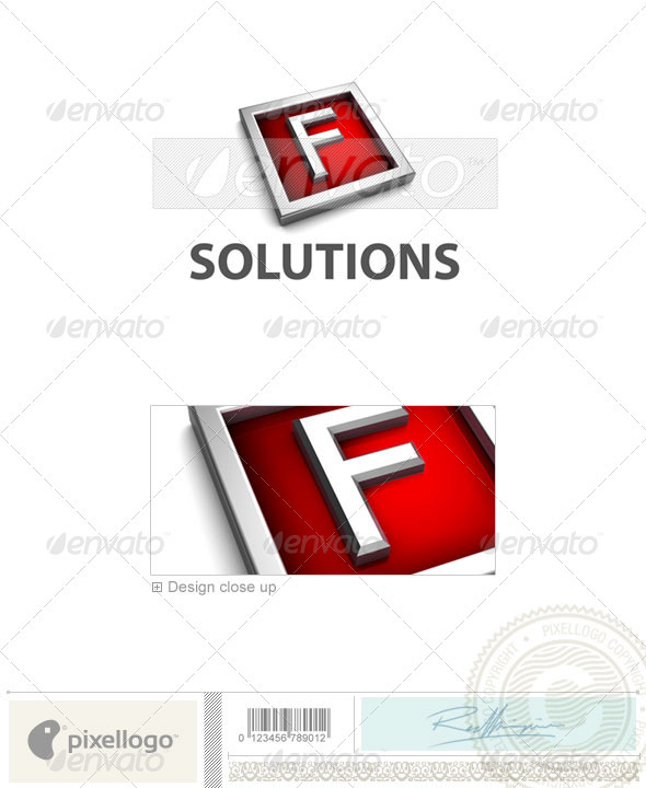F Logo - 3D-549-F - Letters Logo Templates