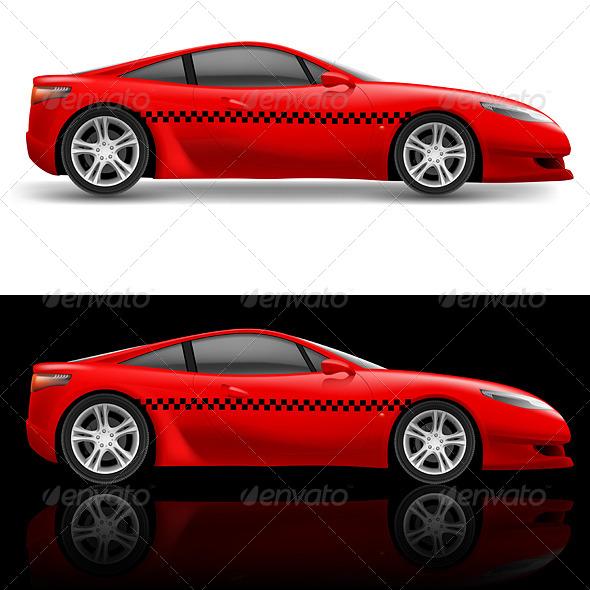 Red Sports Car - Decorative Symbols Decorative
