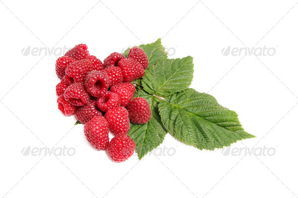Juicy tasty raspberries on a white. - Stock Photo - Images