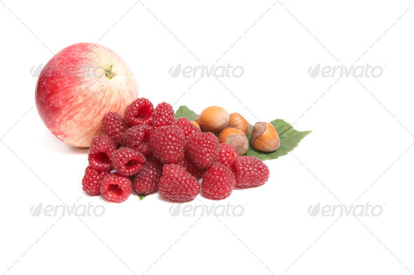 Autumn fruits on a white. - Stock Photo - Images