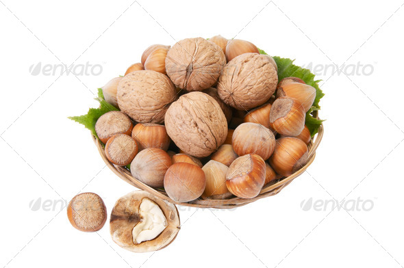 Tasty, ripe nuts in the basket. - Stock Photo - Images