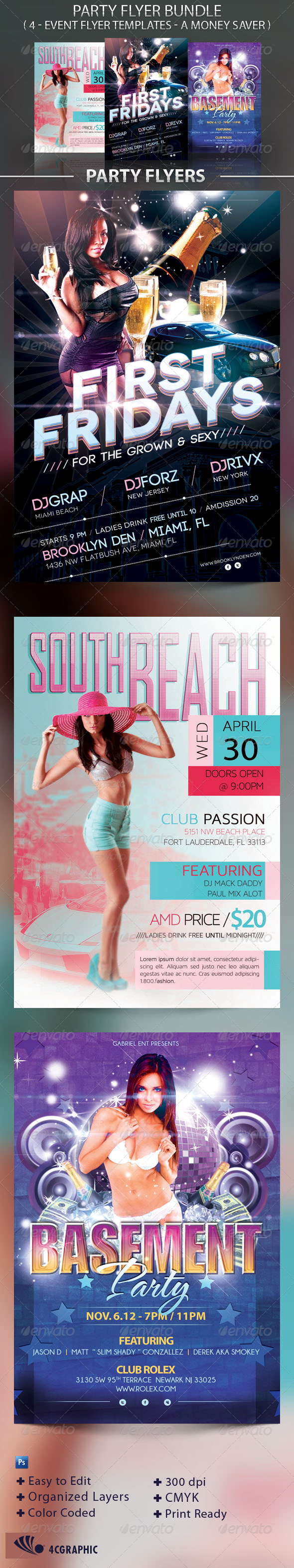 Party Flyer Template Bundle - Events Flyers