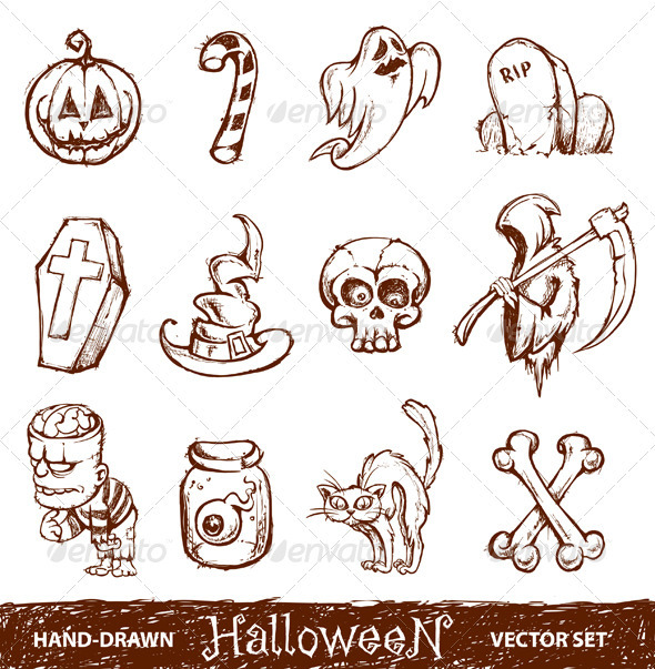 Vector set of cute hand-drawn halloween elements - Characters Vectors