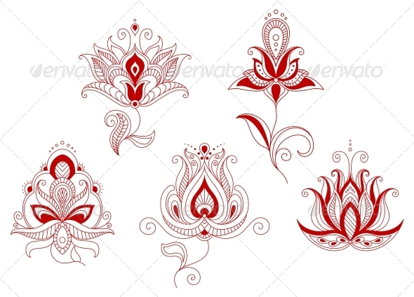 Set Of Abstract Flowers In Persian And Indian Motif
