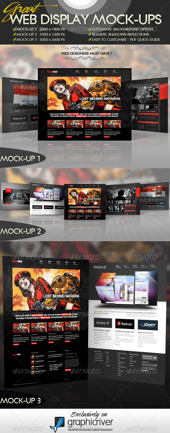 Web Display Mock-Ups - Website Displays