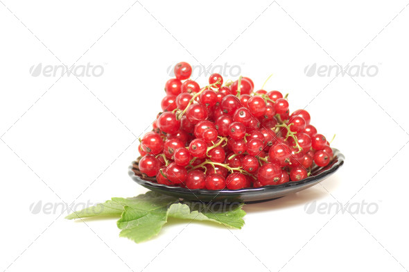 Brown plate and red currant on a white. - Stock Photo - Images