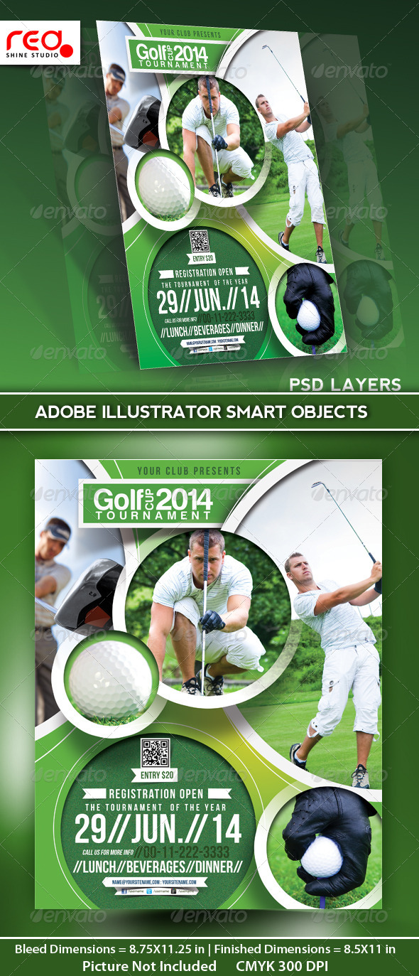 Golf Tournament Flyer Poster Magazine Template   Sports Events