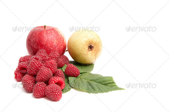 Juicy autumn fruits on a white. - Stock Photo - Images