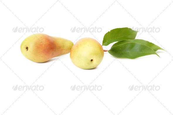Splendid,ripe,tasty pears on a white. - Stock Photo - Images