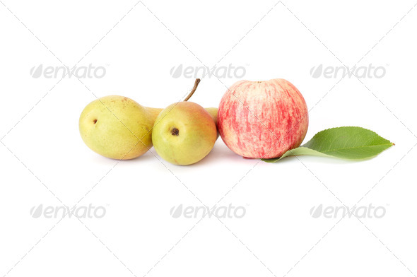 Juicy apple and peppers on a white. - Stock Photo - Images