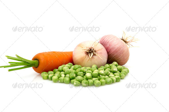 Green peas,onions and carrot isolated on a whiteground. - Stock Photo - Images