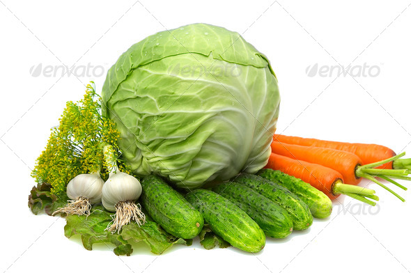 Cabbage,carrot,garlic,cucumbers,dill,lettuce isolated on a whiteground. - Stock Photo - Images