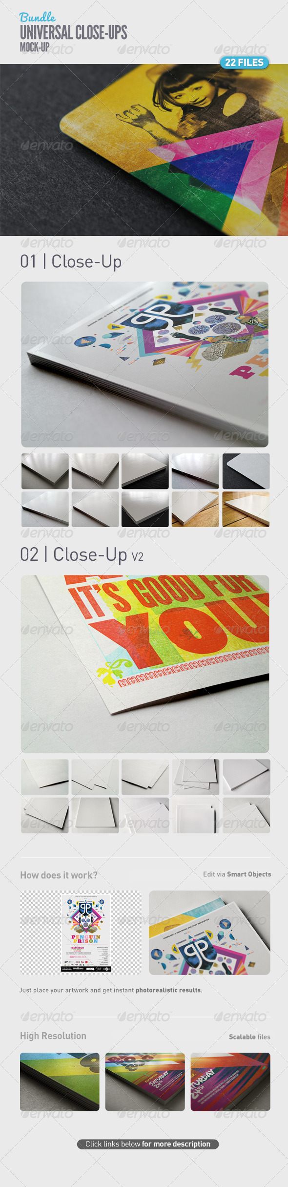 Universal Close-Up Mock-Up Bundle - Product Mock-Ups Graphics