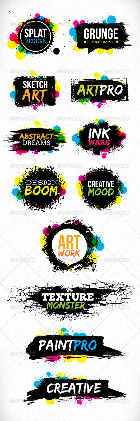 Grunge Blot Brush Vector Design Elements - Backgrounds Decorative