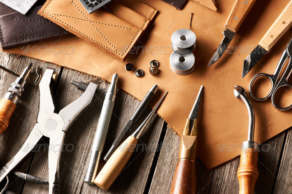 Leather crafting tools - Stock Photo - Images