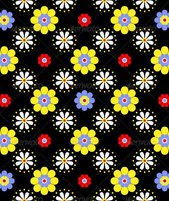 Seamless floral pattern in bright saturated - Patterns Decorative
