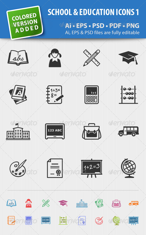 School and Education Icons-Set 1 - Web Icons