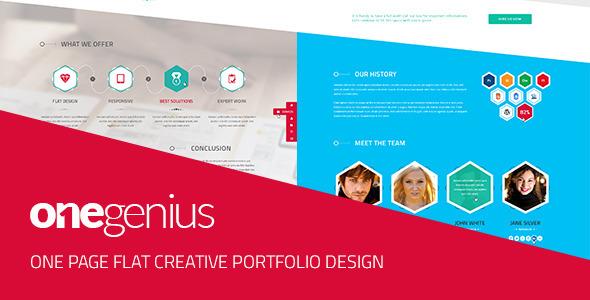 OneGenius - One Page Flat Portfolio PSD Template - Portfolio Creative