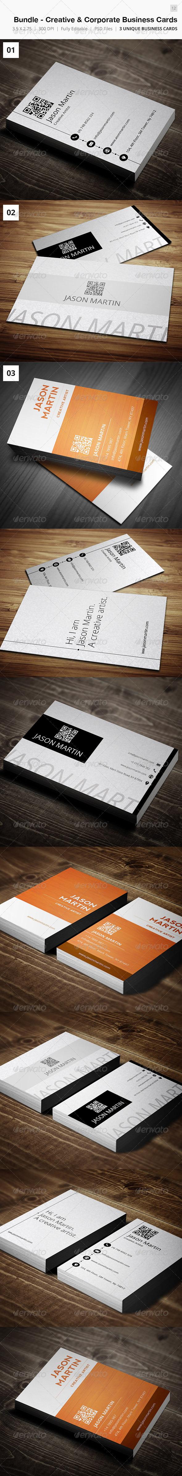Bundle - Creative & Corporate Business Card - 12 - Corporate Business Cards