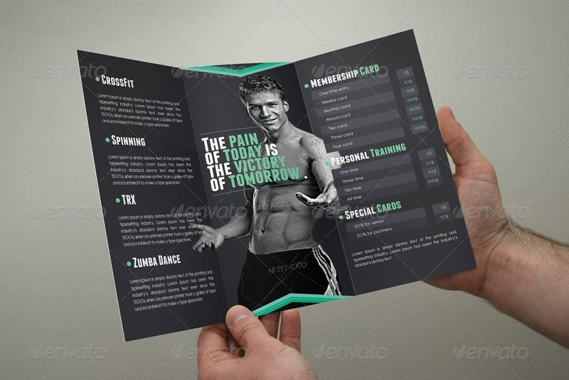 Fitness Brochure TriFold By Coxsumon  Graphicriver