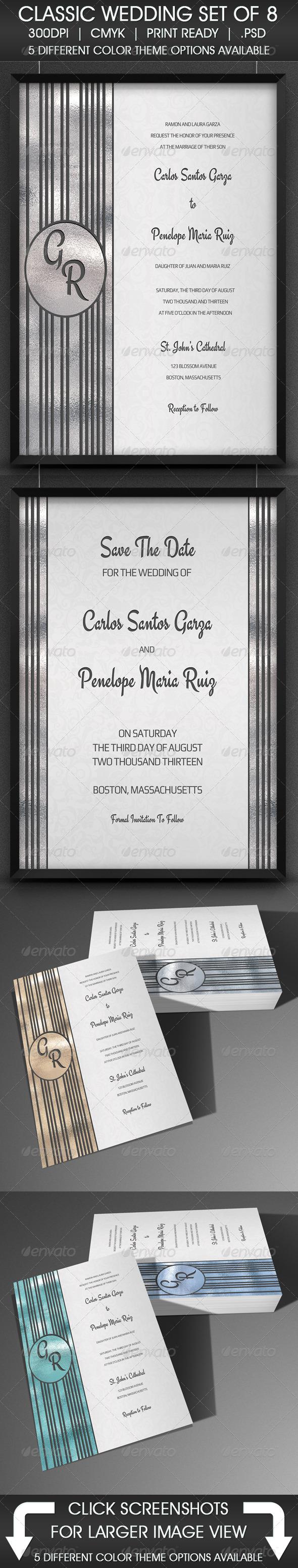 Classic Wedding Set of 8 - Weddings Cards & Invites