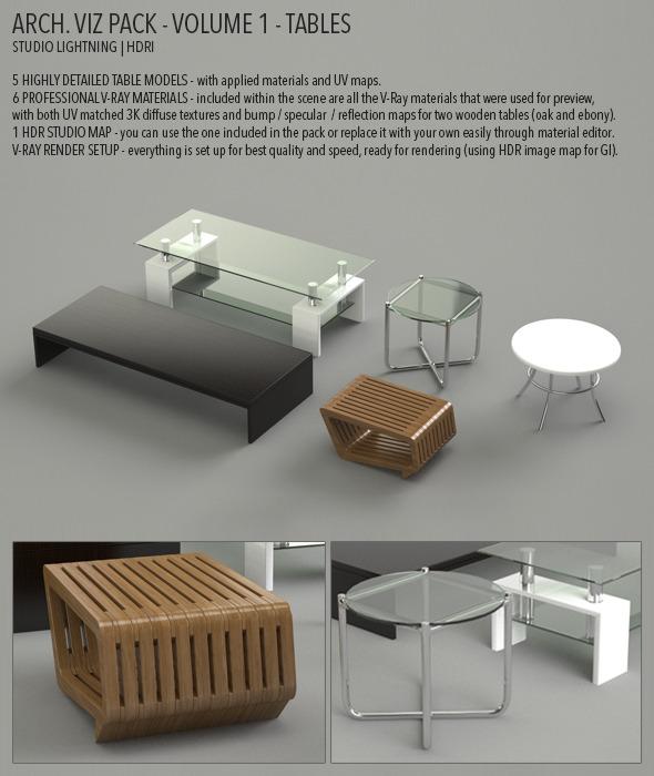Arch Viz Pack Volume 1 - Tables - 3DOcean Item for Sale