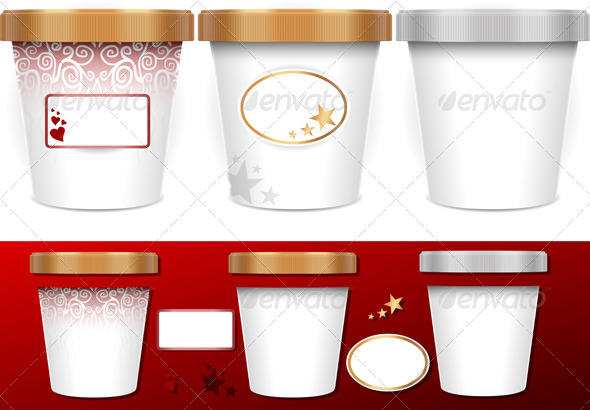 Three Generic Cups for Ice Cream with Labels