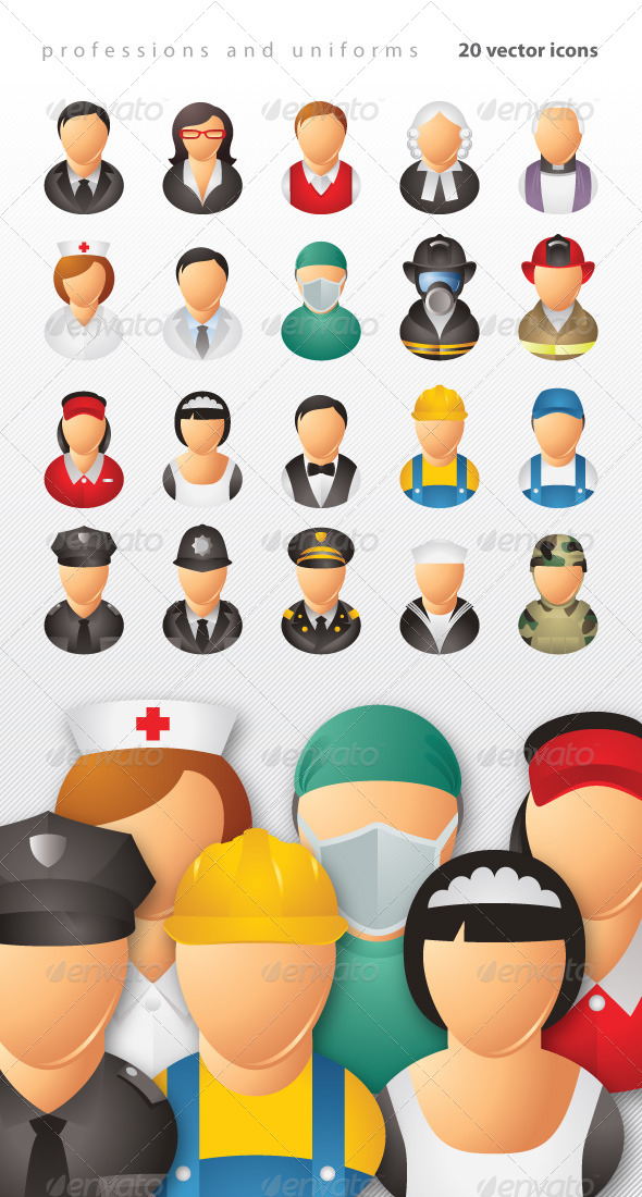 Professions and Uniforms Icons - People Characters