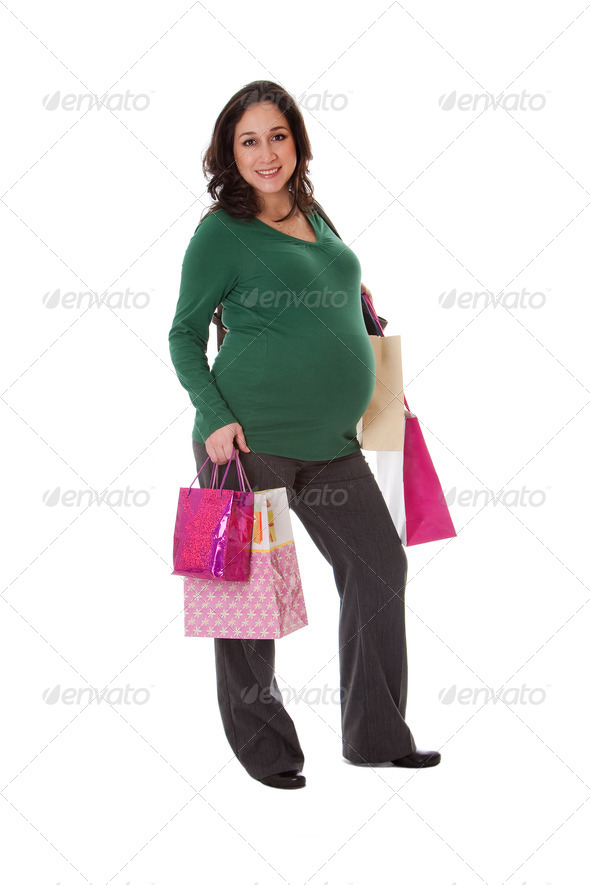 Pregnant woman with shopping bags - Stock Photo - Images