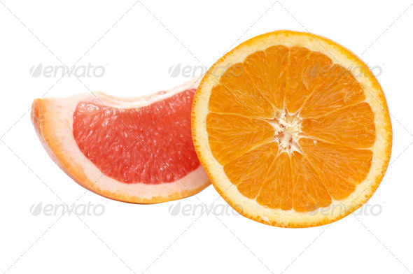 Segments of orange and grapefruit. - Stock Photo - Images