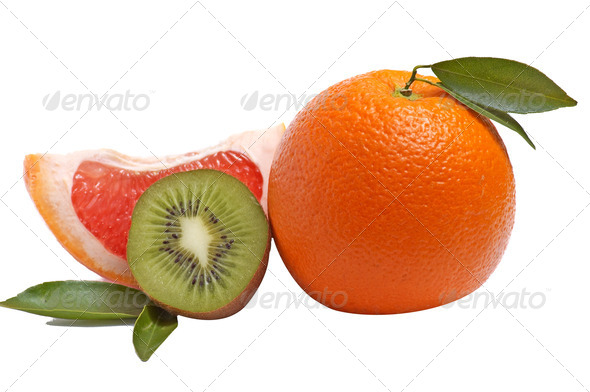 Citrus fruits on a white. - Stock Photo - Images