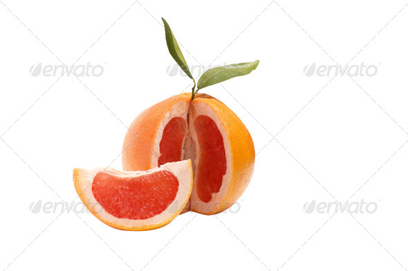 Grapefruit on a white . - Stock Photo - Images