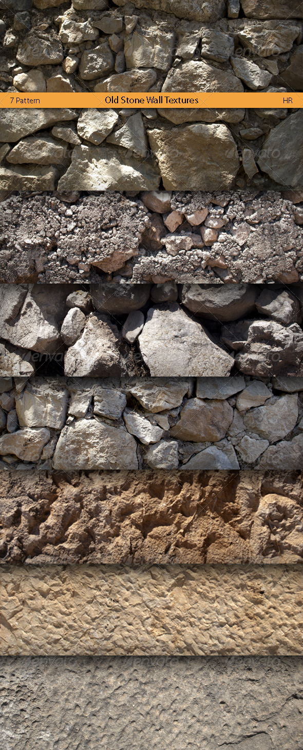 Old Stone Wall Surface Textures  - 3DOcean Item for Sale