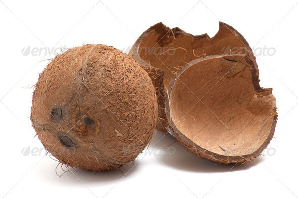Whole and broken coconut on white background. - Stock Photo - Images