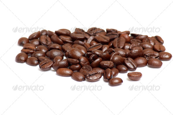 Coffee beans on a white . - Stock Photo - Images