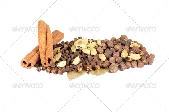 Aroma mixed spices  on a white background. - Stock Photo - Images