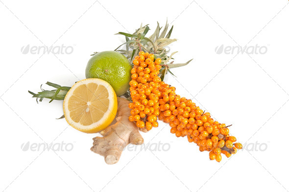 Sea-buchthorn,lemons and ginger. - Stock Photo - Images